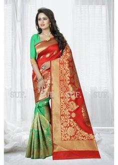 KRISHNALIFESTYLE-Red and Green Color Banarasi Jacquard Saree - krishna181