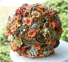 orange wedding Bridal bouquet