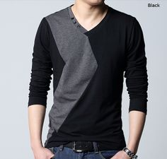 Men's Two Tone V-Neck Shirt with Button Details