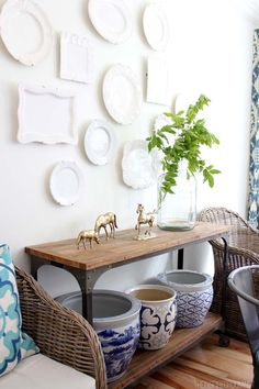 Summer Dining Room White Plate Wall and Console Table