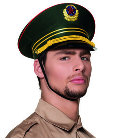 Commissar hat with chin strap and soviet styled badge. Deluxe costume headwear and military hats.