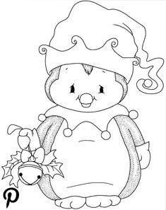 Christmas penguin with bell - Christmas Drawings 🎅 Penguin Coloring Pages, Christmas Coloring Pages, Coloring For Kids, Coloring Books, Christmas Drawing, Christmas Paintings, Christmas Colors, Christmas Art, Illustration Noel