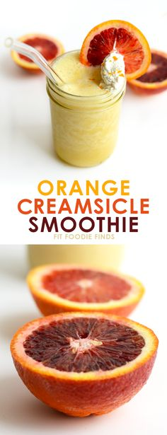 4 simple ingredients = this creamy Orange Creamsicle Smoothie packed with vitamin c and flavor -via @FitFoodieFinds