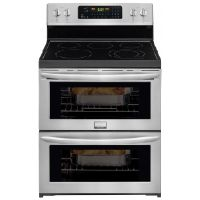"""FrigidaireDouble Oven Electric Range. 3.6 Cu Ft Capacity - Each Oven, Even Baking Technology, 1- 9"""", 2- 6"""", 1- 6/9"""" Elements, 100W Keep Warm Zone, Quick Clean Option"""