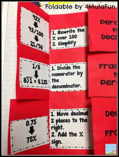 Teaching With a Mountain View: Percents, Decimals, Fractions and a Freebie! Teaching Fractions, Math Fractions, Teaching Math, Teaching Ideas, Teaching Tools, Math Strategies, Math Resources, Math Activities, Math Games