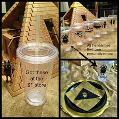 Tablescape details - Personalized cups with vinyl, cardboard detail on gold napkins and more. X