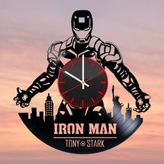Vinyl Record Clock, Old Vinyl Records, Record Art, Vynil, Unusual Clocks, Laser Cutter Projects, How To Make Wall Clock, Vinyl Gifts, Iron Man Tony Stark