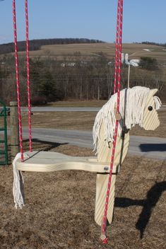 Cute horse swing to make for Grace. Cute horse swing to make for Grace. Outdoor Projects, Wood Projects, Horse Swing, Wooden Horse, Horse Crafts, Cute Horses, Easy Woodworking Projects, Teds Woodworking, Outdoor Play