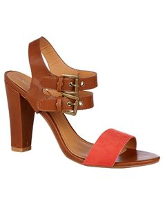 Atmosphere tan block heel double strap sandal.