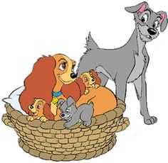 Images of Lady, Tramp and their puppies from Disney's Lady and the Tramp. Disney Pixar, Disney Dogs, Disney Fun, Disney Images, Disney Pictures, Cute Characters, Cartoon Characters, Bambi Art, My Little Pony Twilight