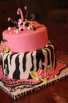Hot pink and Zebra print cake | Flickr - Photo Sharing!