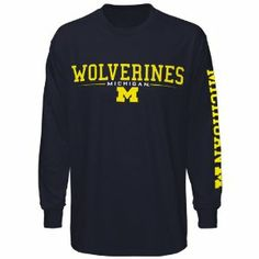 NCAA Michigan Wolverines Navy Blue Team Standard Long Sleeve T-shirt by Football Fanatics. $21.95. Michigan Wolverines Navy Blue Team Standard Long Sleeve T-shirtImportedLightweight ribbed T-shirtRib-knit collar & cuffs100% Cotton fabricScreen print graphicsOfficially licensed collegiate product100% Cotton fabricLightweight ribbed T-shirtScreen print graphicsRib-knit collar & cuffsImportedOfficially licensed collegiate product
