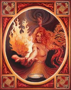 By Emily Balivet on ETSY Brigid.. She is a healer, a mother, a gardener (of apples and herbs), a poetess, a midwife, a protector of children and livestock and a very sympathetic deity to the plights of her followers. A fire goddess. A giver of light and warmth but like fire.... volatile. A goddess that carries a hammer and commands the power of the flame, is not one that you want to upset.