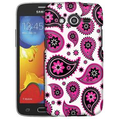 Samsung Galaxy Avant Paisleys Cute Pink on White Slim Case