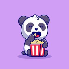 Download Cute Panda Eating Popcorn Cartoon   Icon Illustration. Animal Food Icon Concept Isolated    . Flat Cartoon Style for free