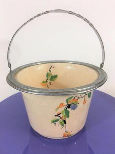 Umbertone Farberware Leigh Potter Vtg 1920s Ice Bucket Deco Handle Apple Blossom