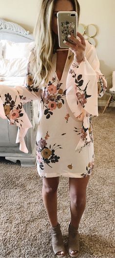 #summer #outfits This Lovely Little Floral Dress Was Yesterday's Top Seller! I Know Why...I Feel Just As Pretty In It As The Pattern! It Does Fit A Bit Snug, So I Got A Small - Size Up If You're In Between Sizes! It's On Sale For $45 And Comes In 2 Colors! In Stock In All Sizes In Both Colors!  These Booties Are Restocked Too For $99 In 3 Colors!