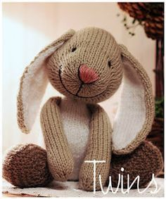 Knitted Toys - Little bunny. So cute!!.....and lots of other very cute knit patterns, including bunny book marks.