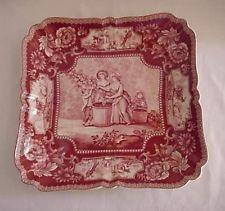 Red Toile Transferware Platter with Victorian Scene