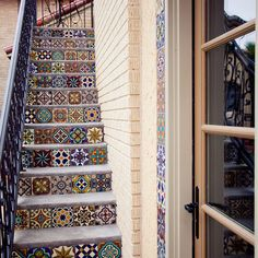 Decorating: Mediterranean Side House Staircase With Floor Tiles Stairs And Steel Railing, Excellent colorful tiles, Spanish tile risers ~ parsegallery Tile Stairs, Tiled Staircase, Mosaic Stairs, Staircase Design, House Staircase, Iron Staircase, Mosaic Tiles, Patchwork Tiles, Interior And Exterior