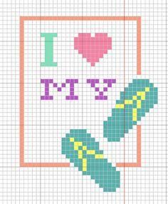 "StitchyFish Designs: ""I Love My Flip-Flops!"" Free Cross Stitch Pattern by Stitchyfish Designs"