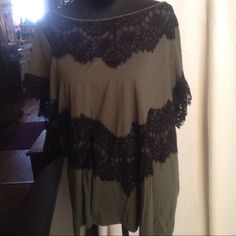 Pretty lace top by A.n.a. Sz 2x A beauty  Great camo/lace shirt. A little dressy and a little sporty all wrapped up in one. Extremely versatile.  Extremely comfortable. Great paired with some leggings and sandals. Worn once and flawless. I know you'll love it as much as I do. a.n.a Tops Tees - Short Sleeve
