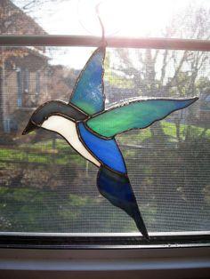 Bird Stained Glass Suncatcher  blue bird  by StainedGlassYourWay, $25.00