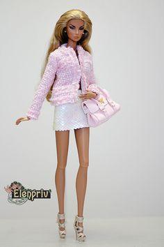 Veste style Chanel rose ELENPRIV avec doublure en mousseline