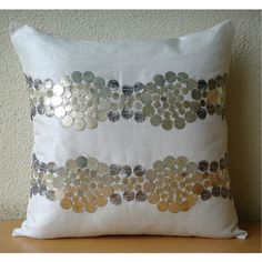 Silver and Gold  - Pillow Sham Covers - 24x24 Inches Ivory Silk Dupion with Antique Accents