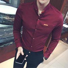 Large Size Fashion Business Men& Shirt Dress Casual Slim Fit Maleeosewe is part of Mens shirt dress Gender Men Item Type Shirts Pattern Type Solid Brand Name eosewe Sleeve Length(cm) Full Shir - Formal Dresses For Men, Formal Men Outfit, Dress Casual, Formal Shirts For Men, Style Casual, Men Casual, Mens Shirt Pattern, Chemise Fashion, Dress Fashion