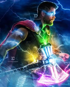 Thor and Stormbreaker with Infinity stones. Poster Marvel, Marvel Comics, Marvel Heroes, Captain Marvel, Captain America, Marvel Fanart, Asgard, Mundo Marvel, Black Panther Marvel