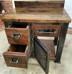 Industrial Vintage Reclaimed Serving Buffet Table with FREE
