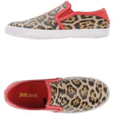 Just Cavalli Low-tops & Trainers ($100) ❤ liked on Polyvore featuring shoes, sneakers, camel, leopard sneakers, leopard flat shoes, leather flat shoes, low top and leopard print sneakers