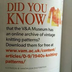 Online archive of vintage knitting patterns