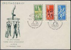 Niemcy DDR Liepzig FDC 1963 Sport Gimnastyka i..