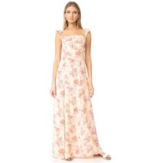 Flynn Skye Bardot Maxi Dress ($200) ❤ liked on Polyvore featuring dresses, cream blossoms, flower dress, maxi dresses, ruffle maxi dress, floral print dress and pink maxi dress