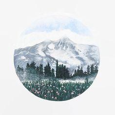 Mountain Print Mountain Art Mountain Painting by BirchBliss