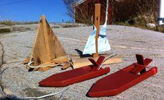 strikkmotor, lekebåt, trebåt, hjemmelagd, sommerset