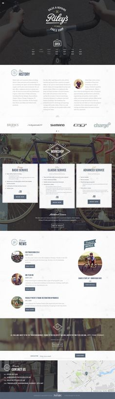 Solid responsive one pager for 'Riley's Cycles' featuring a big video header background shot with a GoPro. Love the textured vintage feel throughout the one pager and if you look closely they even continue the texture over the video - brilliant. Lovely extra effort with the styling of the modal booking form too - lots of users lose their steam around about here and I can see from your build notes (below) you're proud of this one - as it shows here.