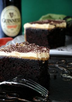 Chocolate Stout Cake with Burnt Caramel Buttercream Frosting--perfect for St. Paddy's Day or whenever you need rich chocolate cake!
