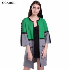 Two-Tone Colored Cardigan Women Sweater Blazer Jacket Coat Elegant Fashion Style