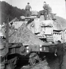 WWII Photo German Tiger Tank On Train with Soldiers WW2 B&W World War Two / 2180