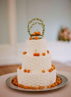 orange cherries, basket weaved, fondant, rustic wedding cake
