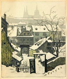 Winter Magic, Winter Art, Prague, Collage Illustration, Illustrations, Medieval World, European Paintings, Winter Scenery, Foto Art