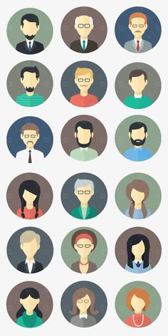 Buy Minimalistic Flat Persons Icons Set 1 by MastakA on GraphicRiver. Minimalistic Flat Faces Icons Set 1 18 icons in two versions: circle rounded square ZIP included (abt 2500 items): ed. Flat Design Illustration, Character Illustration, Graphic Illustration, Flat Design Icons, Icon Design, Vector Design, Logo Design, Symbol Design, Person Icon