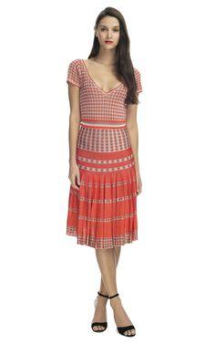 Z Spoke Red Combo Pleated Skirt Dress