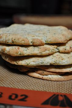 Our new favorite Gluten Free Flatbread recipe.  It even makes crackers.      GF Feta & Dill dough - made into pitas, flatbreads, pizza bases, or thin it out for crackers.