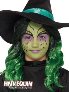 Girls green witch Halloween makeup kit, to buy online now at Heaven Costumes. Do your very own Halloween witch look using this wicked witch makeup kit for children, made by Smiffy's. Kids Witch Makeup, Halloween Makeup For Kids, Halloween Party, Vampire Makeup For Kids, Halloween Costumes, Kids Halloween Face Paint, Ghost Costumes, Christmas Costumes, Halloween Halloween