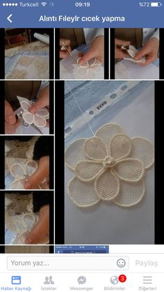 This Pin was discovered by NeşK - Salvabrani - Salvabrani Diy Embroidery Flowers, Couture Embroidery, Ribbon Embroidery, Embroidery Stitches, Embroidery Patterns, Jute Flowers, Diy Flowers, Fabric Flowers, Flower Diy