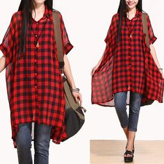 Casual Loose Fitting Bat Sleeved Blouse Bat Sleeved - Red Check- Women Blouse(R) by deboy2000 on Etsy